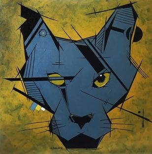 The Rugged Pussy by Sanket Sagare, Abstract Painting, Acrylic on Canvas, Lunar Green color