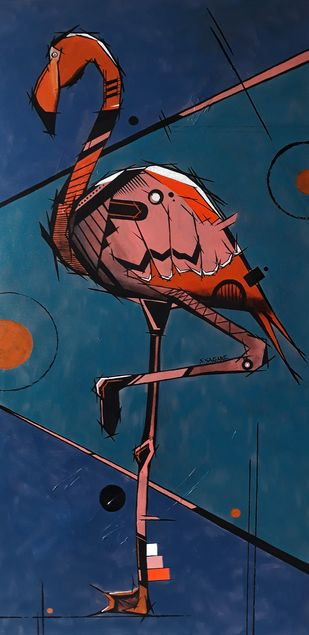 Geometric bird - 3 by Sanket Sagare, Expressionism Painting, Acrylic on Canvas, Cello color