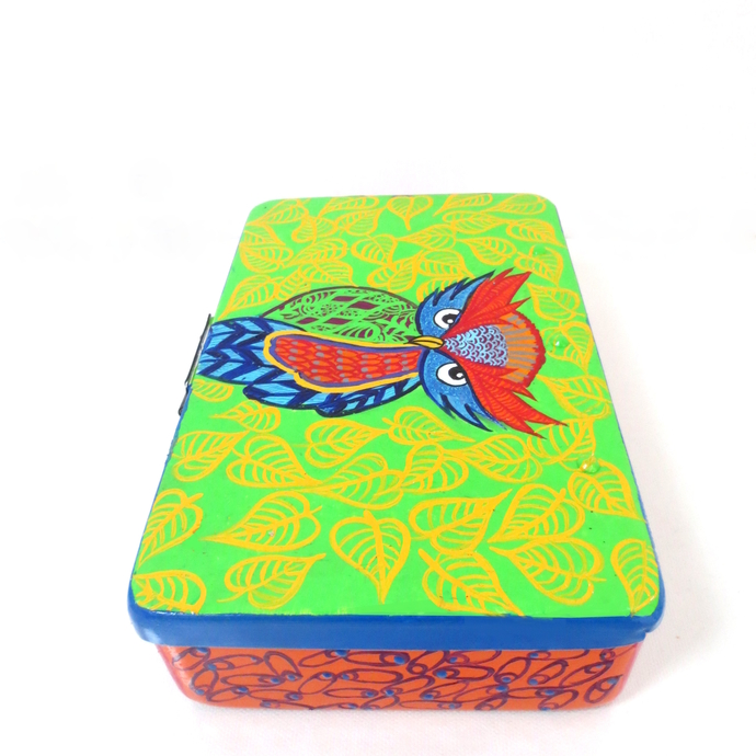 Trippy Trinket boxes- handpainted keepsake box Who gives a hoot Decorative Box By Pyjama Party Studio