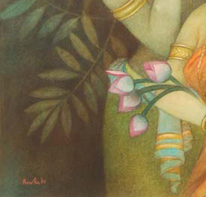 "Krishna & Radha, Mythology, Tempera on canvas, Red, Pink, Green, Yellow ""In Stock"" by Bratin Khan, Impressionism Painting, Tempera on Canvas, Brown color"