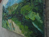 Trancendental Lover by Anshu, Impressionism Painting, Oil on Canvas, Green color