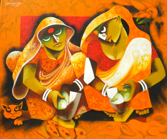 House wife 2 by Uttam Manna, Traditional Painting, Acrylic on Canvas, Orange color