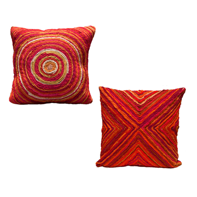 Love Chair & Little Bo Peep Pouf with Cushion Set In Red Gatsby Furniture By Sahil & Sarthak