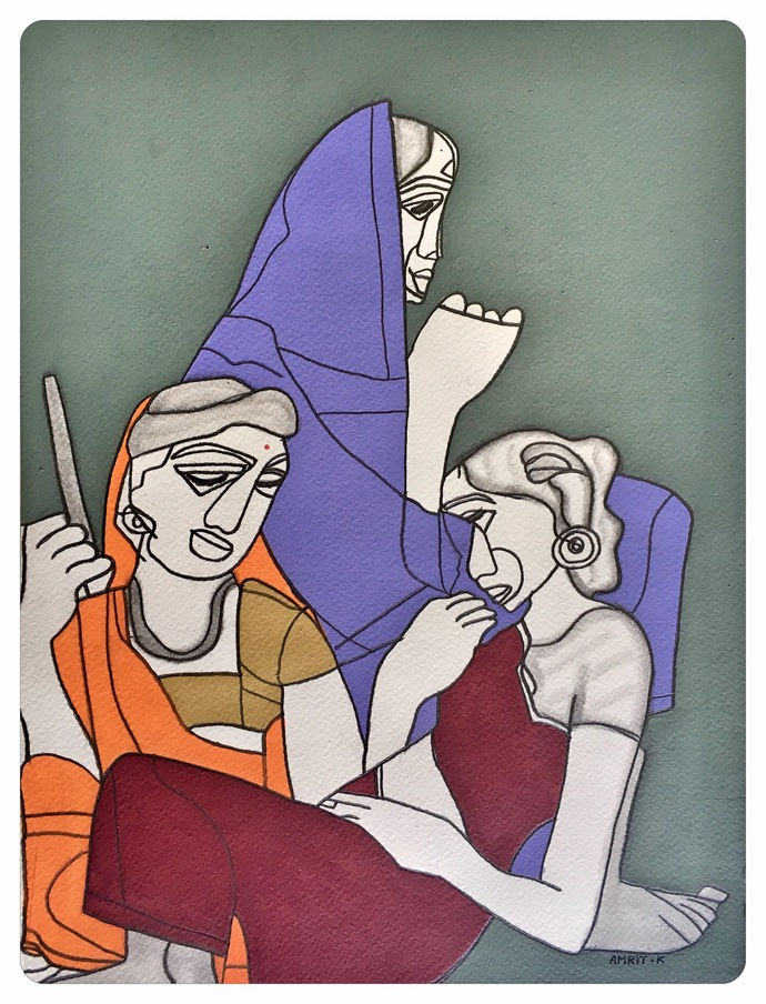 Man Ki Tarang, Aasman mein Udti Patang by Amrit Khurana, Expressionism Painting, Acrylic on Paper, Blue color