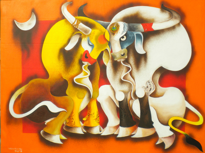 happiness by Uttam Manna, Expressionism Painting, Acrylic on Canvas, Orange color