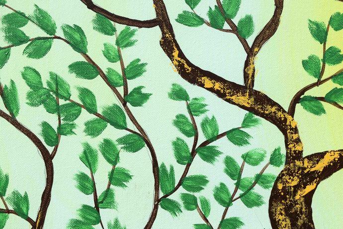 Savkalam by Sumit Mehndiratta, Impressionism Painting, Acrylic on Canvas, Cyan color