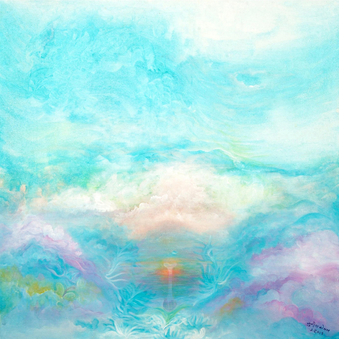 Essence of nature by Sunita komal, Expressionism Painting, Acrylic on Canvas, Cyan color