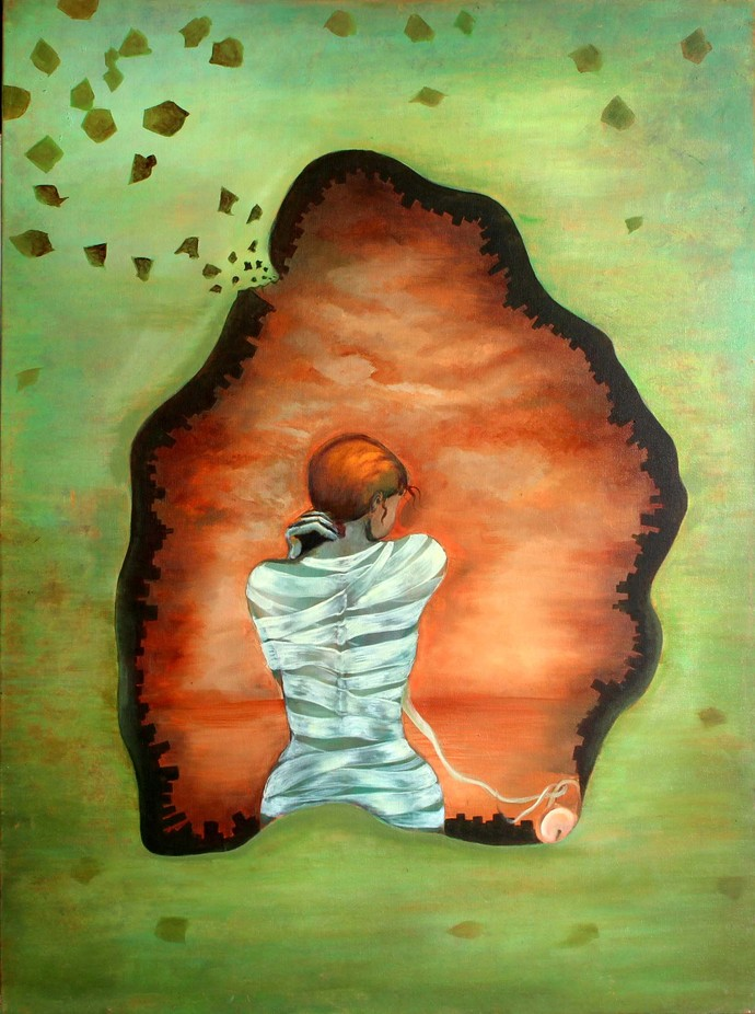 journey by khushboo, Expressionism Painting, Acrylic & Ink on Canvas, Beige color