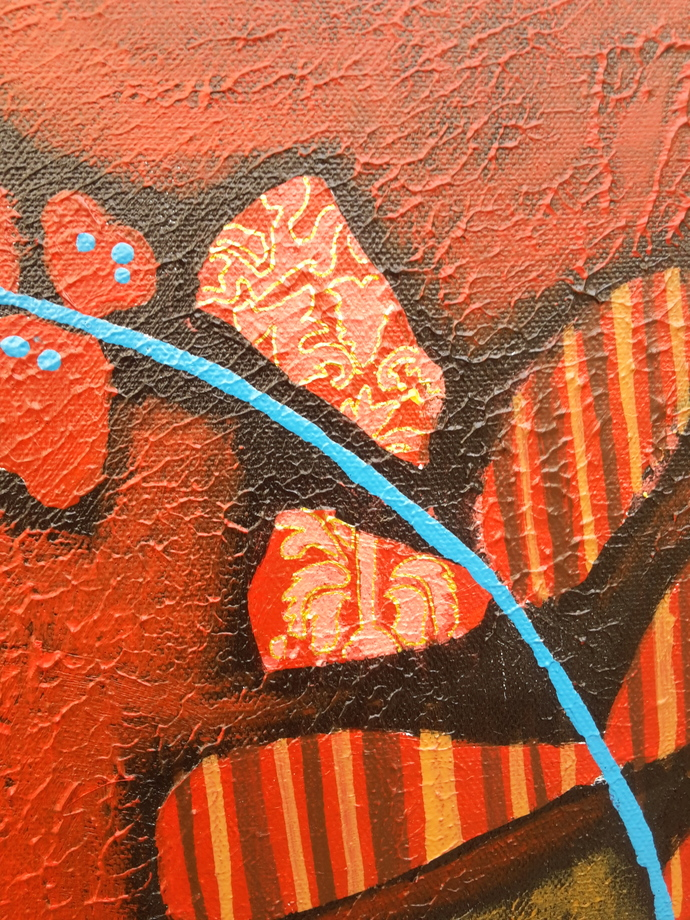 Flowers 4 by Sheetal Singh, Art Deco Painting, Acrylic on Canvas, Brown color