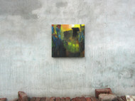 May by Abhishek Kumar, Abstract Painting, Oil on Canvas, Green color