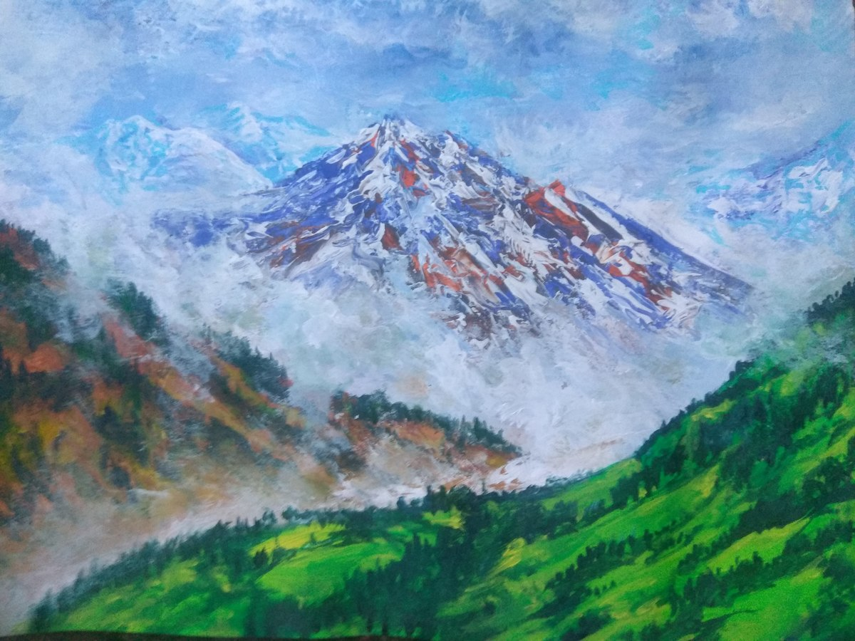 Mountain scape by Vivek Sharma, Impressionism Painting, Acrylic on Paper,