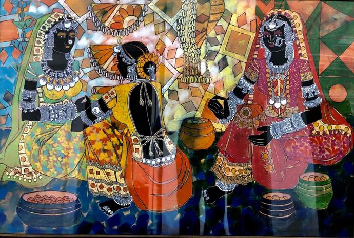 Ethnic Serendipity - 59 by Anuradha Thakur, Traditional Painting, Acrylic on Canvas, Brown color