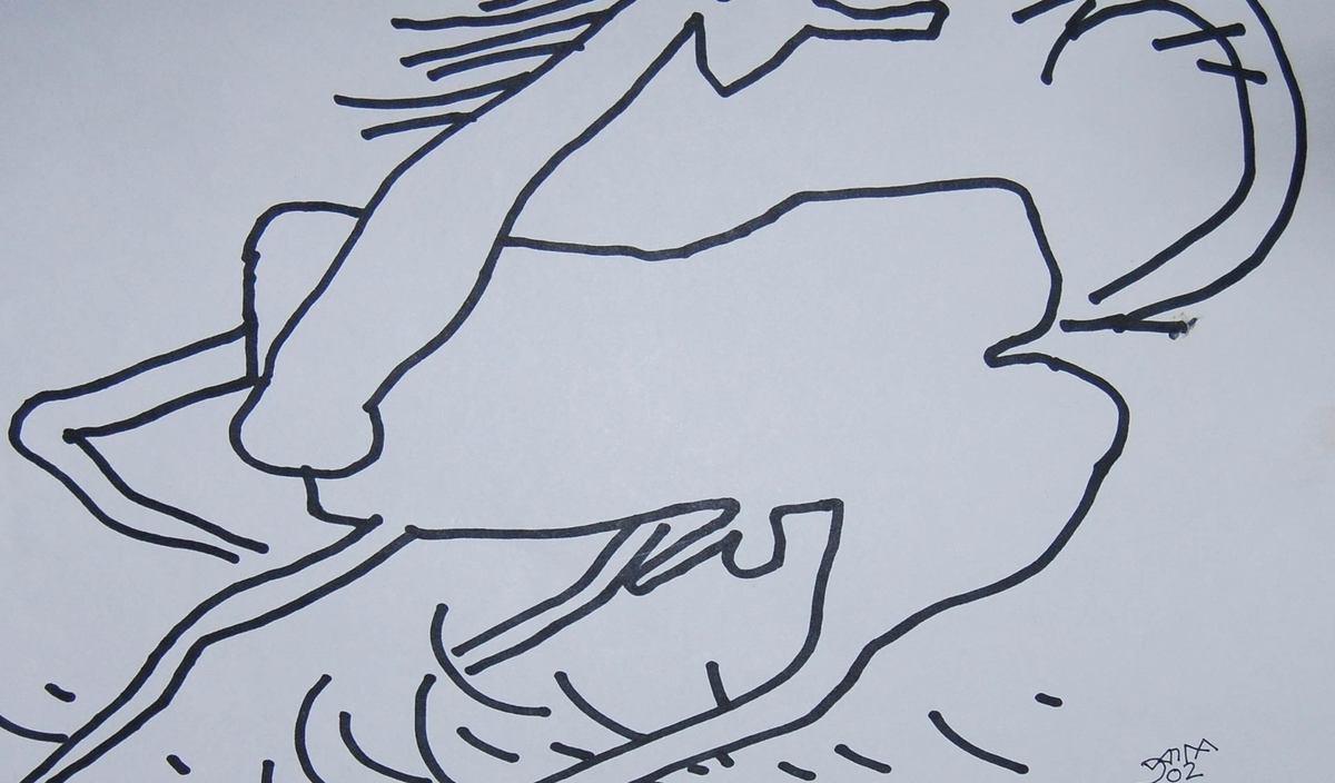 Prakash karmakar horse ink on paper detail 4
