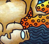 """Nude Woman, Beach Series Mixed Media on Paper by Modern Indian Artist """"In Stock"""" by Prokash Karmakar, Expressionism Painting, Mixed Media on Paper, Beige color"""