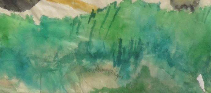 """Untitled, Watercolour on Rice Paper by Modern Indian Artist """"In Stock"""" by Kartick Chandra Pyne, Expressionism Painting, Watercolor on Paper, Beige color"""