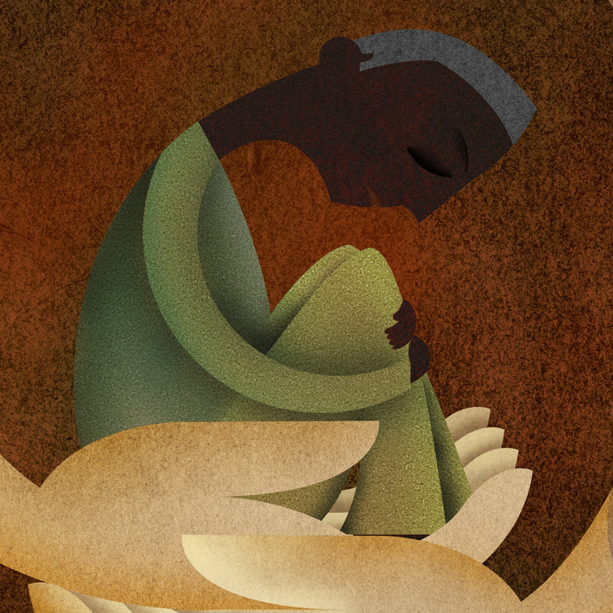 Care by Suvarna Sohoni, Digital Digital Art, Digital Print on Canvas, Brown color