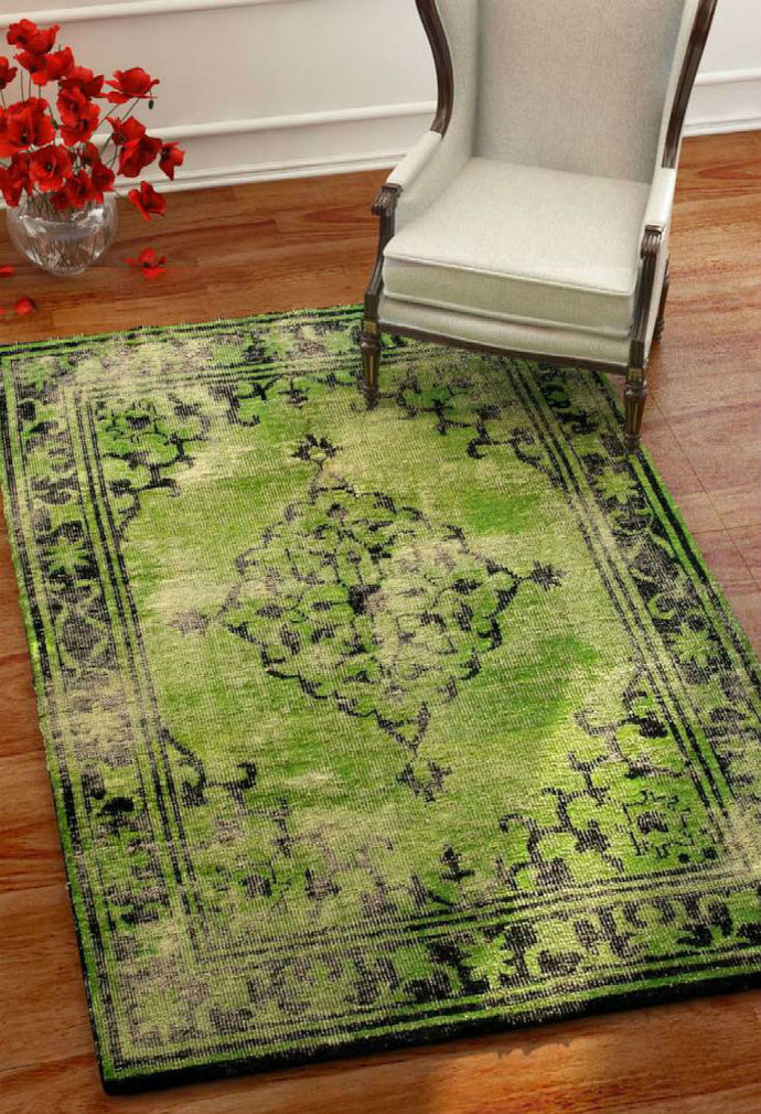 Imperial Knots Green Vintage Handknotted Carpet Carpet and Rug By Imperial Knots