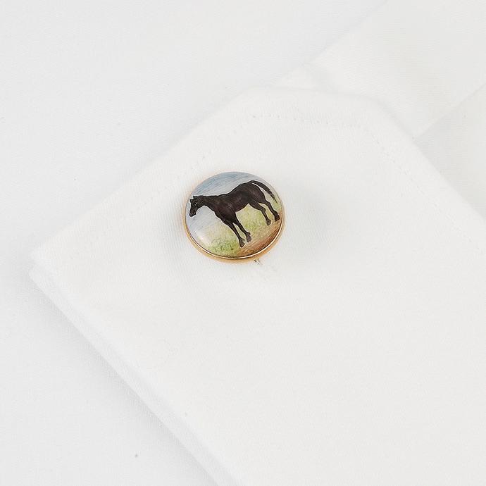 SIGNATURE BLACK BEAUTY CUFFLINKS by Ikka Dukka Studio Pvt Ltd, Contemporary Button/Cufflink