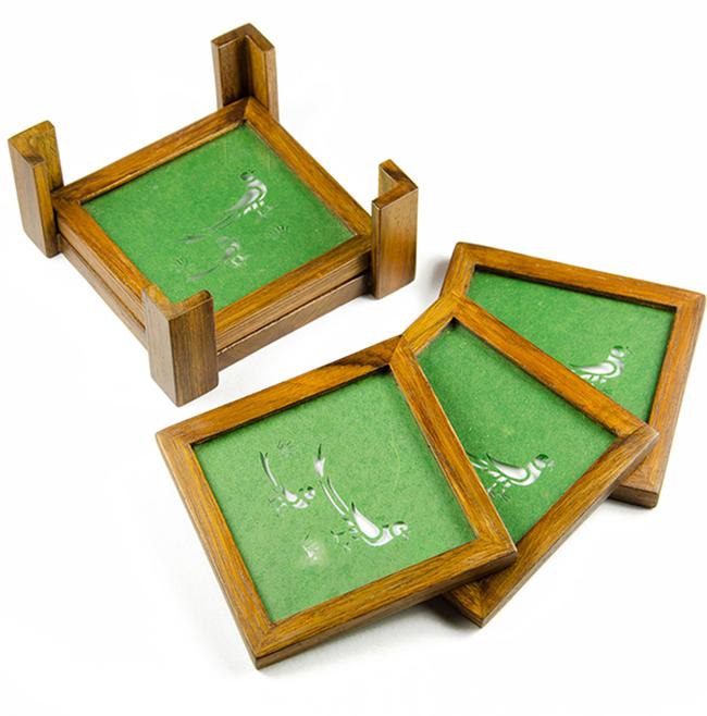 1 wooden coasters sanjhi teak parrot emrald green