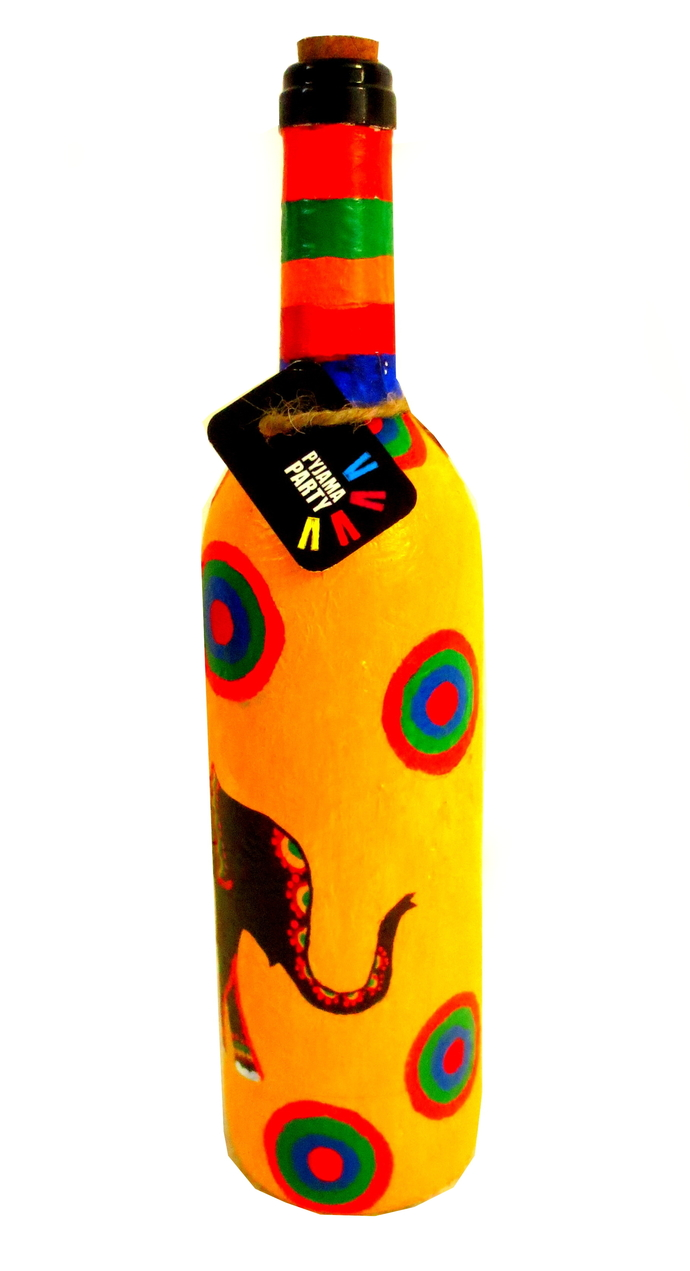 Recycle. Reuse. Rehydrate- Hand-painted bottle Elephant tales Decorative Container By Pyjama Party Studio