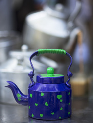PoppadumArt Chai Kettle Royal Blue Serveware By PoppadumArt