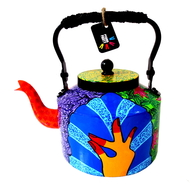 Premium hand-painted kettle- Bharatanatyam Dancer Serveware By Pyjama Party Studio