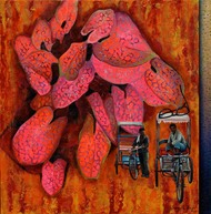 Colourful Solace by Sangeeta Singh, Fantasy Painting, Oil & Acrylic on Canvas, Pink color