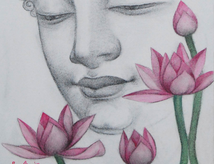 "Enlightened, Buddha, Charcoal, Pastel on canvas, Black, Pink, Green ""In Stock"" by Bratin Khan, Decorative Painting, Charcoal on Canvas, Beige color"
