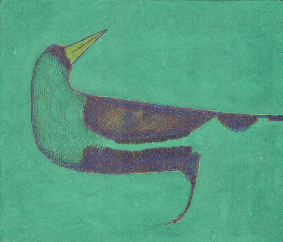 Bird in forest by Amit Biswas, Impressionism Painting, Tempera on Paper, Green color