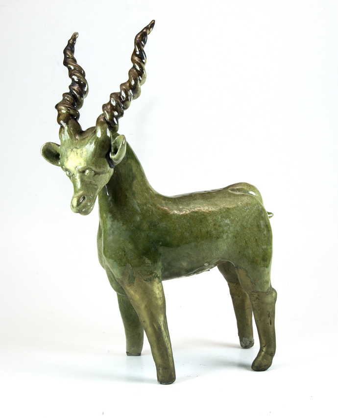 Stag-3 by Uday Singh , Decorative Sculpture | 3D, Ceramic, White color