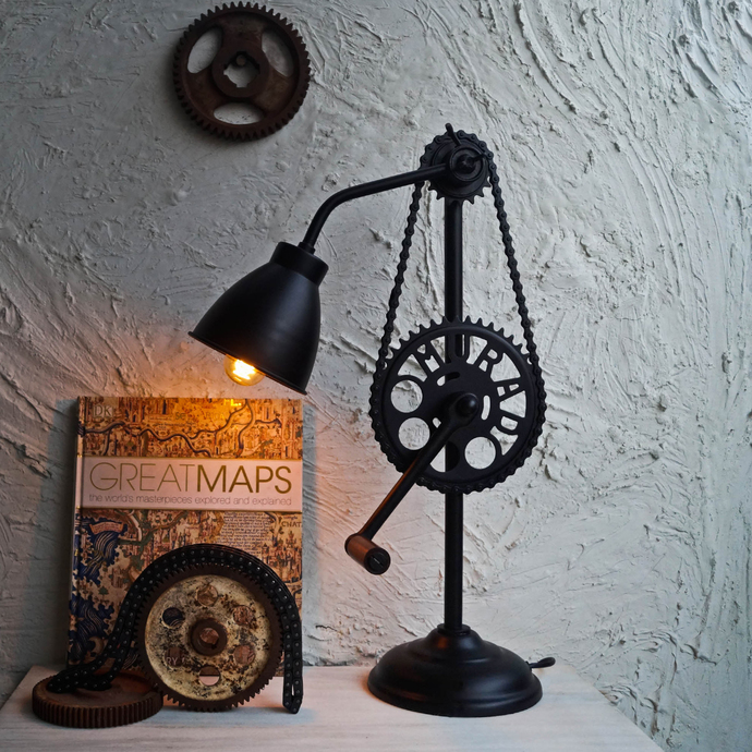 The Sprocket Wheel Industrial Lamp v2.0 Table Lamp By The Black Steel