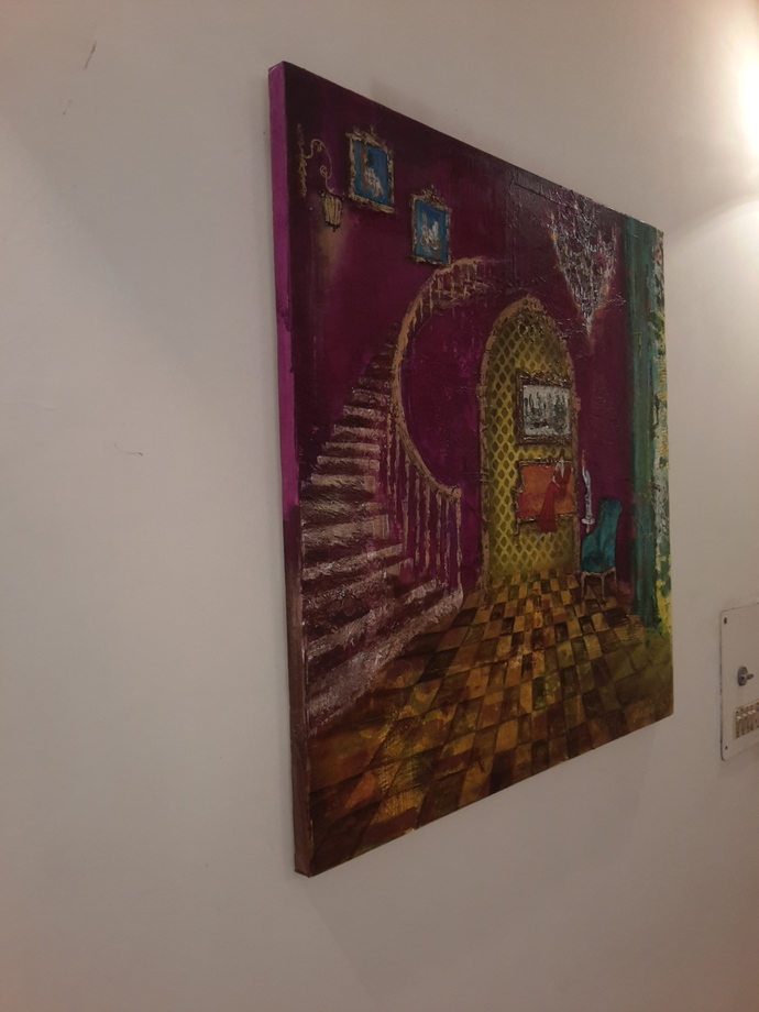 Baroque 22 by Sheetal Singh, Decorative Painting, Acrylic on Canvas, Brown color