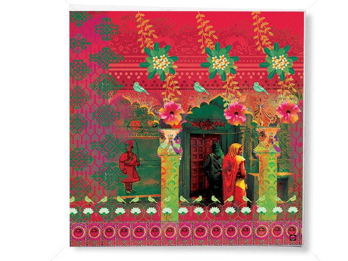 MITHILA MADHUBANI-2 by Priyanka Kaushal, Digital Digital Art, Digital Print on Canvas, Brown color