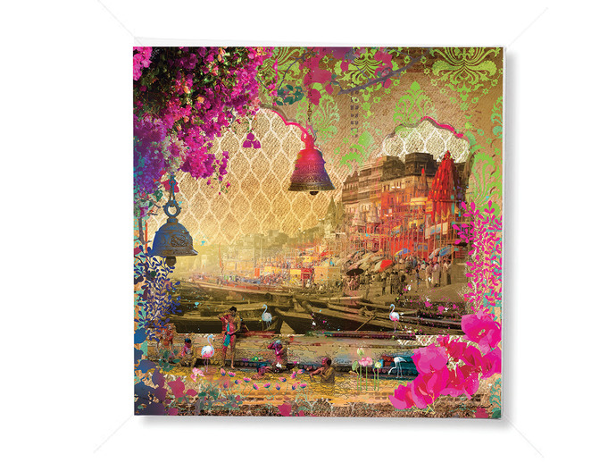 GANGAA GHAT-1 by Priyanka Kaushal, Digital Digital Art, Digital Print on Canvas, Brown color
