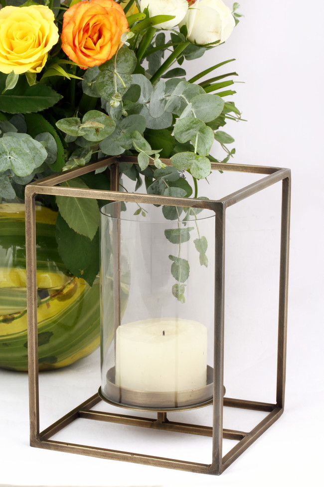 The lohasmith   cuboid candle holder in antique brass   styled