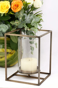 Cuboid Candle Holder in Antique Brass - Large Candle Stand By The Lohasmith