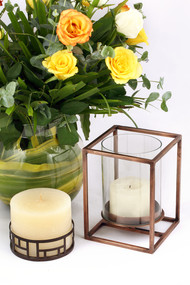 Cuboid Candle Holder in Antique Brass - Small Candle Stand By The Lohasmith
