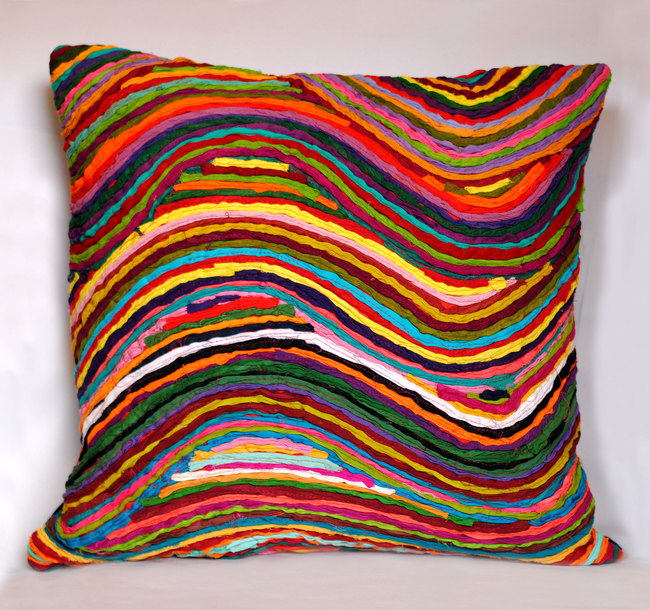 Wave   multicolor    cushion cover  18 x 18  2