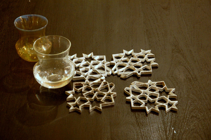 Jaali Coaster Set of 2 Al Table Ware By AKFD
