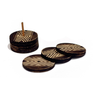 Naga Round Coasters with Stand - Set of 6 Table Ware By E'thaan Design Studio