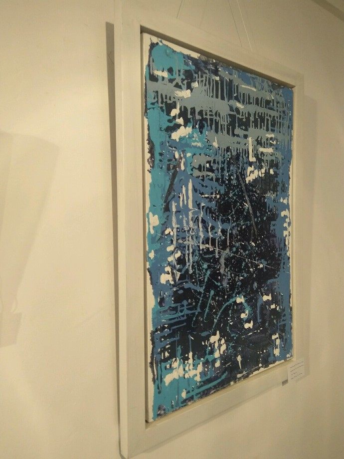 Multiple Dimensions by Priyadarshini Ohol, Abstract Painting, Acrylic on Canvas, Blue color