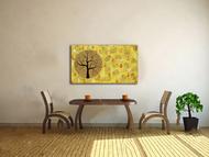 Aatam Vriksh by Sumit Mehndiratta, Impressionism Painting, Acrylic on Canvas, Orange color