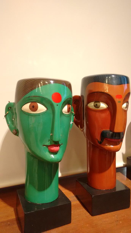 UNTITLED by Kandi Narsimlu, Art Deco Sculpture | 3D, Fiber Glass, Brown color