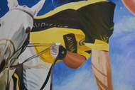 Polo by Dipto Narayan Chattopadhyay, Expressionism Painting, Oil on Canvas, Blue color