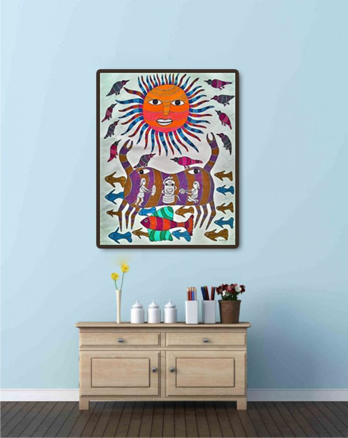 Original handmade tribal gond painting of gods creation with lines and dots. by Brajbhushan Dhurve, Tribal Painting, Acrylic on Canvas, Brown color