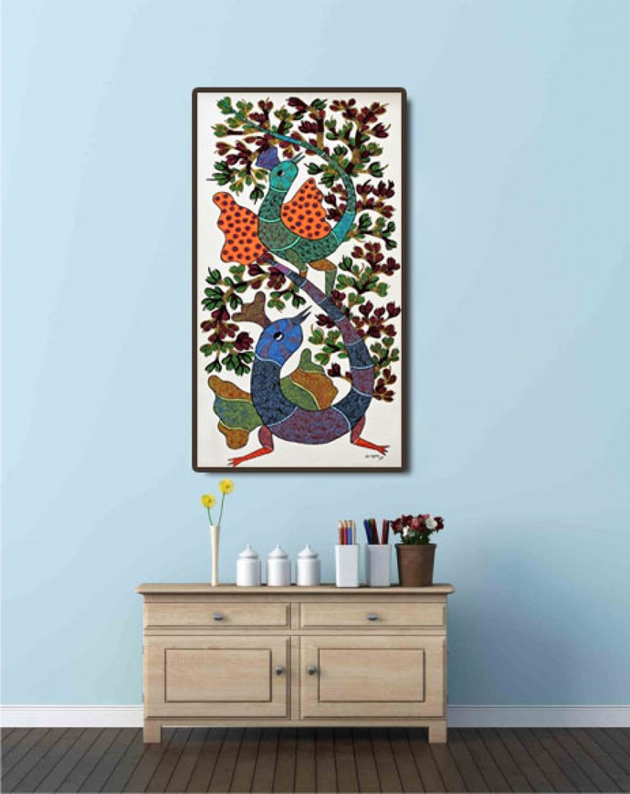 Gond painting birds on trees. by Brajbhushan Dhurve, Tribal Painting, Acrylic on Canvas, Brown color