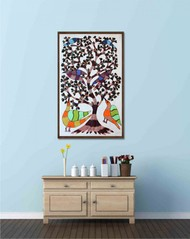 Gond painting showcasing beautiful nature created by GOD. by Brajbhushan Dhurve, Tribal Painting, Acrylic on Canvas, Gray color
