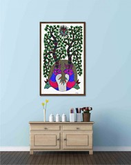 Original hand made gond painting illustarting lifecycle of nature. by Brajbhushan Dhurve, Tribal Painting, Acrylic on Canvas, Green color