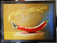 Chilli by Dipto Narayan Chattopadhyay, Surrealism Painting, Oil on Canvas, Beige color