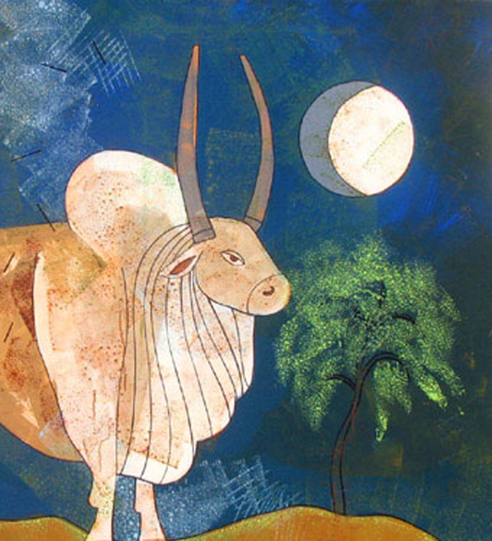 Bull In Moonlight by Ashoke Mullick, Expressionism Painting, Acrylic on Canvas, Brown color